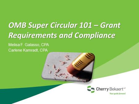 OMB Super Circular 101 – Grant Requirements and Compliance Melisa F. Galasso, CPA Carlene Kamradt, CPA.