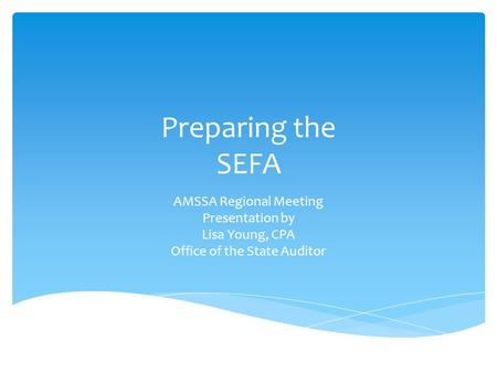 Preparing the SEFA AMSSA Regional Meeting Presentation by Lisa Young, CPA Office of the State Auditor.