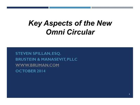 Key Aspects of the New Omni Circular