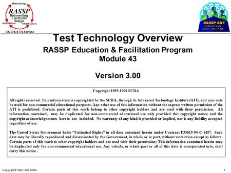 Test Technology Overview RASSP Education & Facilitation Program Module 43 Version 3.00 Copyright 1995-1999 SCRA All rights reserved. This information.