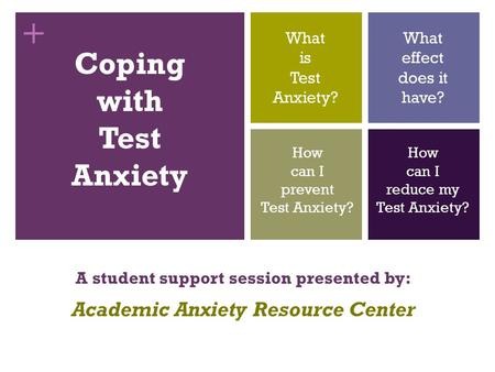 + Coping with Test Anxiety A student support session presented by: Academic Anxiety Resource Center What is Test Anxiety? What effect does it have? How.