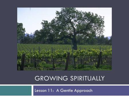 GROWING SPIRITUALLY Lesson 11: A Gentle Approach.