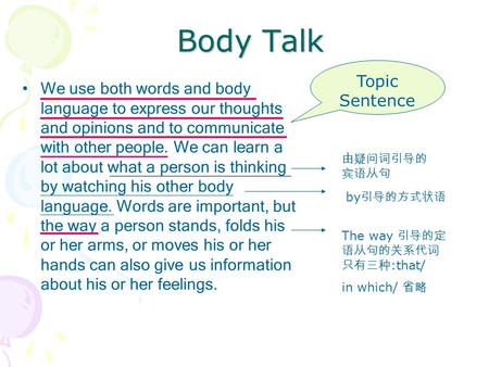 Body Talk We use both words and body language to express our thoughts and opinions and to communicate with other people. We can learn a lot about what.