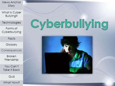 News Anchor Story What is Cyber Bullying? Technologies Forms of Cyberbullying Facts Glossary Consequences Broken Friendship You Can't Take it Back Quiz.