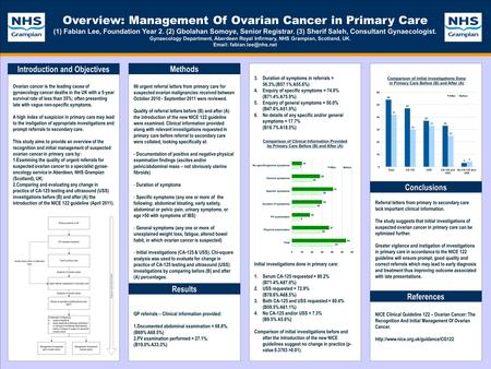 TEMPLATE DESIGN © 2008 www.PosterPresentations.com Overview: Management Of Ovarian Cancer in Primary Care (1)Fabian Lee, Foundation Year 2. (2) Gbolahan.