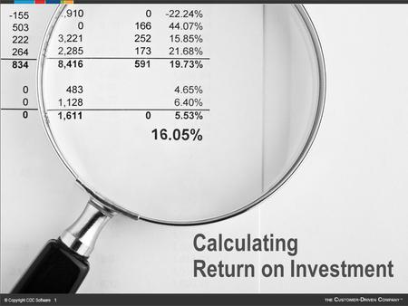 © Copyright CDC Software 1 Calculating Return on Investment.