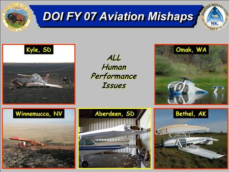 DOI FY 07 Aviation Mishaps 4 Aircraft Accidents 4 Aircraft Accidents 1 IWP 1 Serious and 2 Minor Injuries 1 Serious and 2 Minor Injuries ALL Human Performance.
