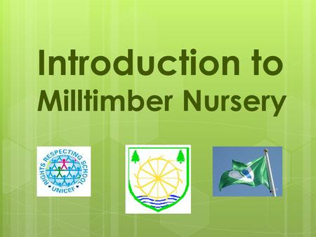 Introduction to Milltimber Nursery. The Nursery Team Mrs Chris Darlington Mrs Sue Rhodes Mrs Margaret Fraser.