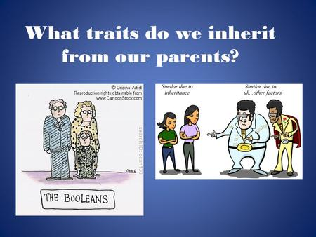 What traits do we inherit from our parents?. What does the word prevalent mean? Predictions?