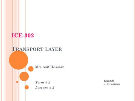 ICE 302 T RANSPORT LAYER 1 Thanks to A. B. Forouzan Md. Asif Hossain Term # 2 Lecture # 2.