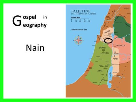 G Nain 1 ospel eography in. Palestine in the days of Christ 2 01 Mediterranean Sea 02 Sea of Galilee 03 Nazareth 04 Mt Carmel 05 Judea 06 Sychar 07 Idumea.