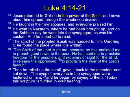 Luke 4:14-21 14	Jesus returned to Galilee in the power of the Spirit, and news about him spread through the whole countryside. 15	He taught in their synagogues,