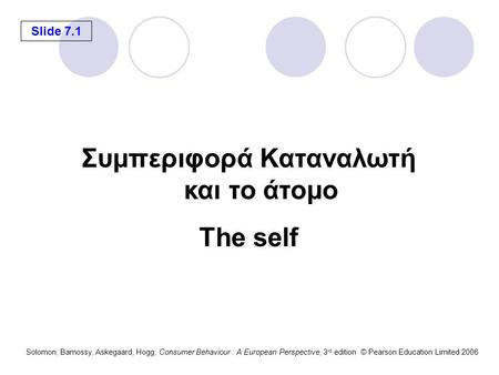 Slide 7.1 Solomon, Bamossy, Askegaard, Hogg, Consumer Behaviour : A European Perspective, 3 rd edition © Pearson Education Limited 2006 Συμπεριφορά Καταναλωτή.