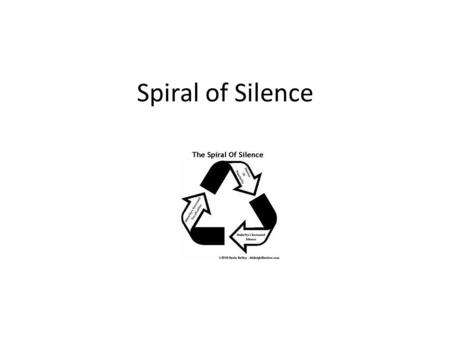 Spiral of Silence. Spiral of Silence Theory Developed by German political scientist Elisabeth Noelle Neumann in late 1940s Theory aims to explain the.