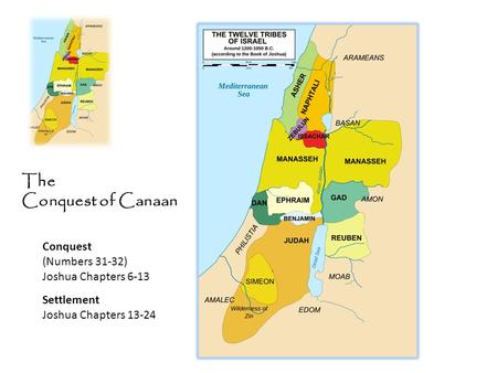 The Conquest of Canaan Conquest (Numbers 31-32) Joshua Chapters 6-13 Settlement Joshua Chapters 13-24.