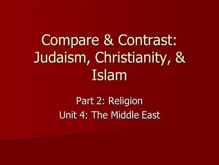 compare and contrast essay on islam and christianity Christianity vs islam christianity and islam are the world largest religions and their comparison and contrasting revolves around quite a wide range of variables.