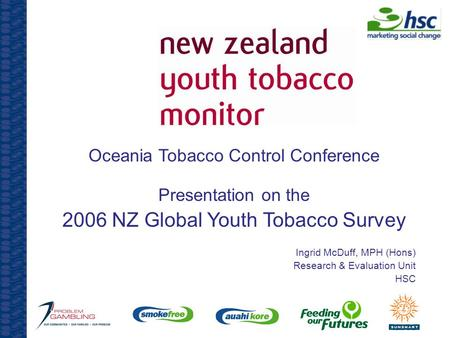 Oceania Tobacco Control Conference Presentation on the 2006 NZ Global Youth Tobacco Survey Ingrid McDuff, MPH (Hons) Research & Evaluation Unit HSC.
