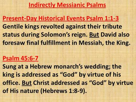 Indirectly Messianic Psalms