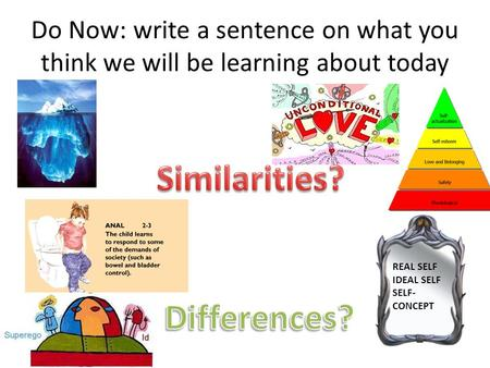 Do Now: write a sentence on what you think we will be learning about today REAL SELF IDEAL SELF SELF- CONCEPT.
