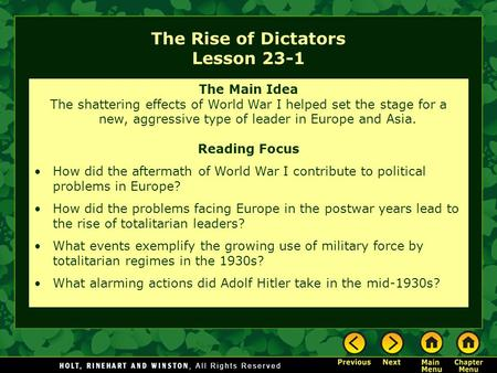 The Rise of Dictators Lesson 23-1