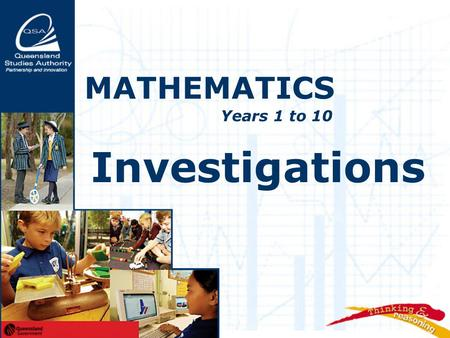Investigations MATHEMATICS Years 1 to 10. Investigations  exemplify a teaching approach that supports thinking, reasoning and working mathematically.