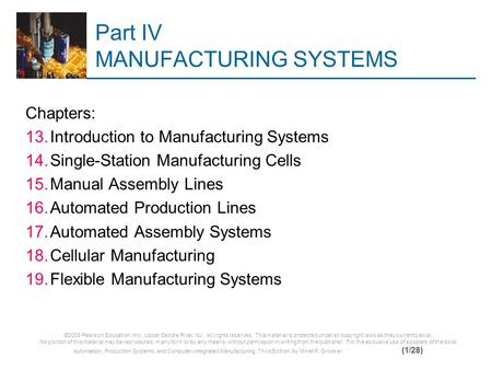 Part IV MANUFACTURING SYSTEMS