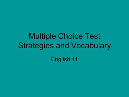 multiple choice writing test