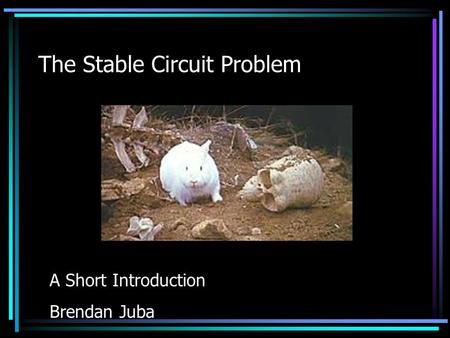 The Stable Circuit Problem A Short Introduction Brendan Juba.