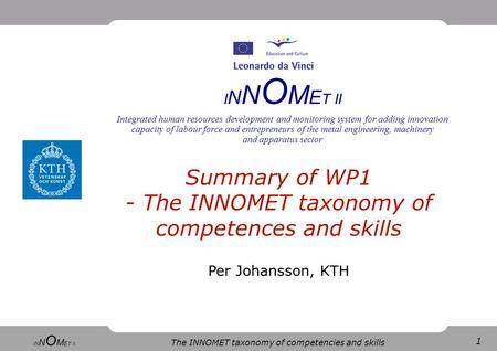 1 The INNOMET taxonomy of competencies and skills I N N O M E T II Integrated human resources development and monitoring system for adding innovation capacity.