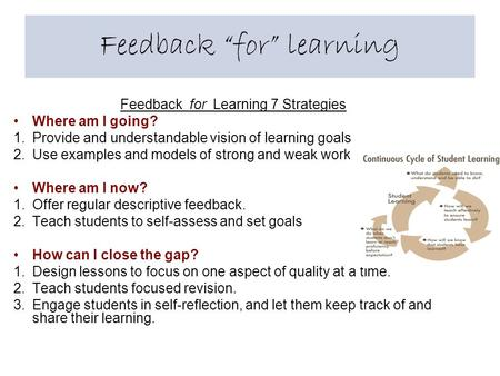 "Feedback ""for"" learning Feedback for Learning 7 Strategies Where am I going? 1.Provide and understandable vision of learning goals 2.Use examples and models."