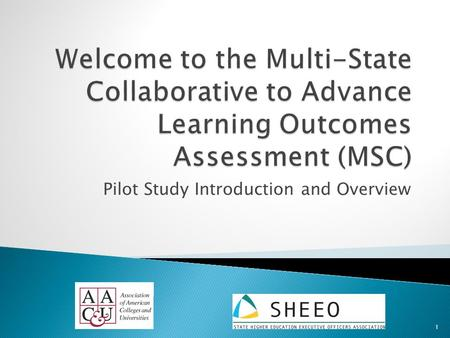 Pilot Study Introduction and Overview 1.  Julie Carnahan Senior Associate - SHEEO MSC Project Director  Terrel Rhodes Vice President.