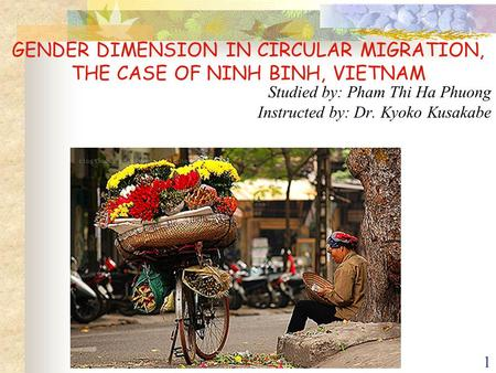 1 GENDER DIMENSION IN CIRCULAR MIGRATION, THE CASE OF NINH BINH, VIETNAM Studied by: Pham Thi Ha Phuong Instructed by: Dr. Kyoko Kusakabe.
