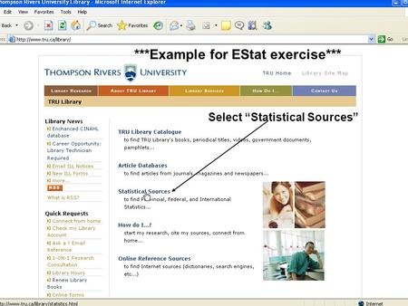 "Select ""Statistical Sources"" ***Example for EStat exercise***"