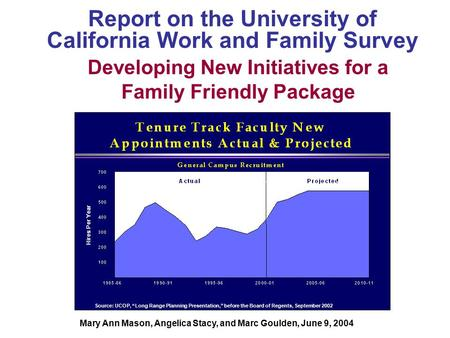 "Developing New Initiatives for a Family Friendly Package Report on the University of California Work and Family Survey Source: UCOP, ""Long Range Planning."