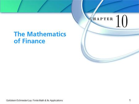 The Mathematics of Finance