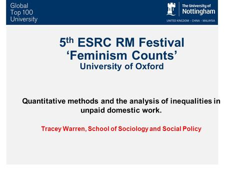5 th ESRC RM Festival 'Feminism Counts' University of Oxford Quantitative methods and the analysis of inequalities in unpaid domestic work. Tracey Warren,
