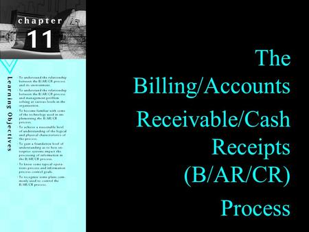 Receivable/Cash Receipts (B/AR/CR)