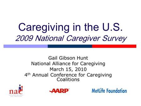 Caregiving in the U.S. 2009 National Caregiver Survey Gail Gibson Hunt National Alliance for Caregiving March 15, 2010 4 th Annual Conference for Caregiving.