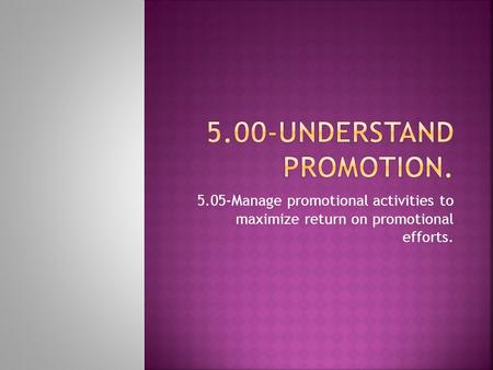 5.05-Manage promotional activities to maximize return on promotional efforts.