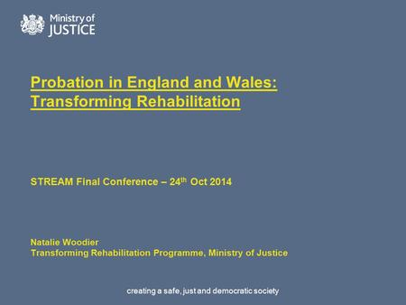 Creating a safe, just and democratic society Probation in England and Wales: Transforming Rehabilitation STREAM Final Conference – 24 th Oct 2014 Natalie.