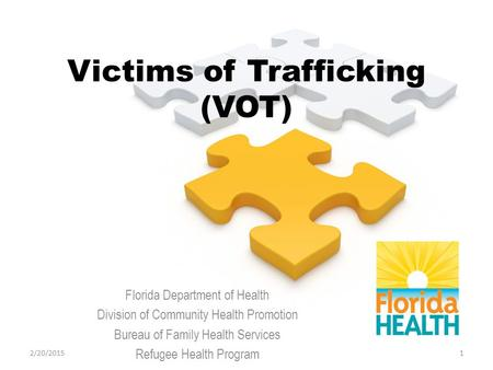 Victims of Trafficking (VOT) Florida Department of Health Division of Community Health Promotion Bureau of Family Health Services Refugee Health Program.