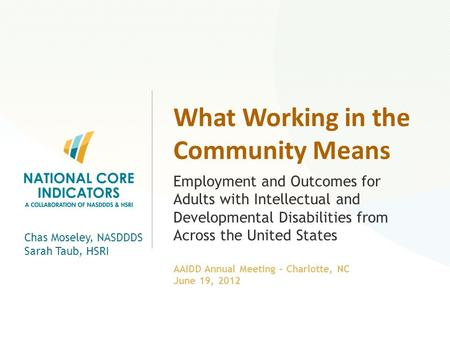 What Working in the Community Means Employment and Outcomes for Adults with Intellectual and Developmental Disabilities from Across the United States Chas.