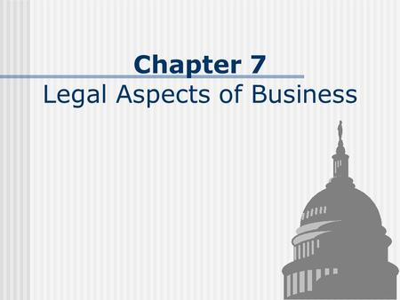 Chapter 7 Legal Aspects of Business. Regulations Maintaining Competition Competition - rivalry among companies for customers Monopoly - exists when competition.