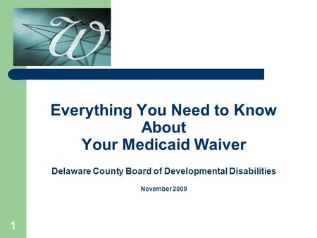 1 Everything You Need to Know About Your Medicaid Waiver Delaware County Board of Developmental Disabilities November 2009.