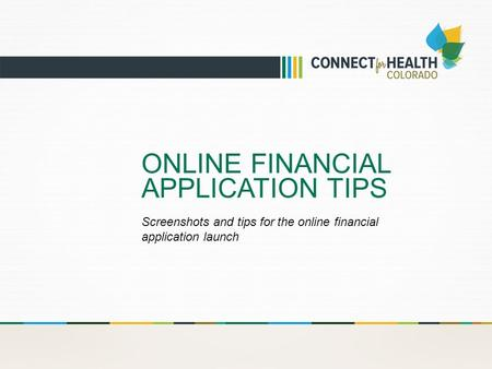 ONLINE FINANCIAL APPLICATION TIPS Screenshots and tips for the online financial application launch.