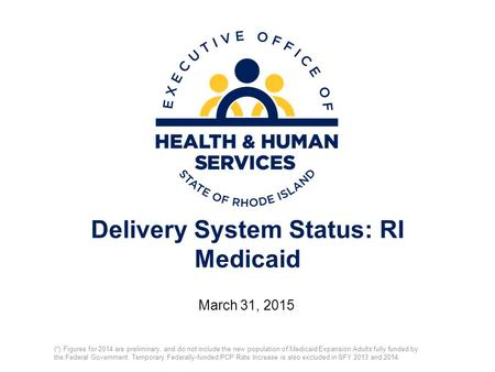 Delivery System Status: RI Medicaid March 31, 2015 (*) Figures for 2014 are preliminary, and do not include the new population of Medicaid Expansion Adults.