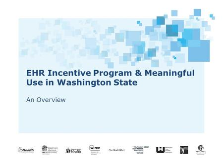 EHR Incentive Program & Meaningful Use in Washington State An Overview.