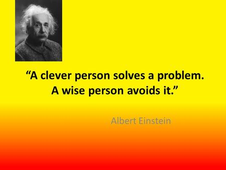 """A clever person solves a problem. A wise person avoids it."" Albert Einstein."