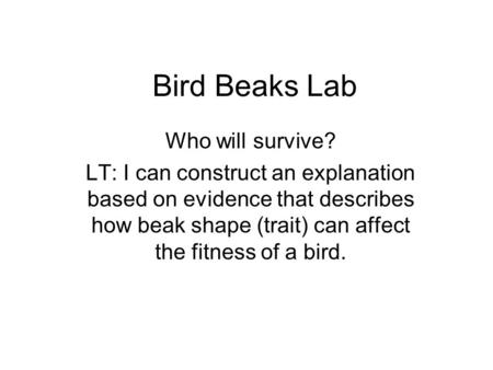 Bird Beaks Lab Who will survive? LT: I can construct an explanation based on evidence that describes how beak shape (trait) can affect the fitness of a.