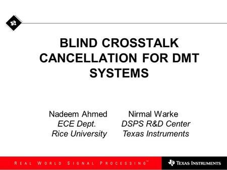 BLIND CROSSTALK CANCELLATION FOR DMT SYSTEMS